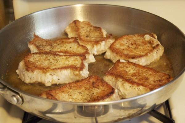 Pork chope with caramelized onion dijon cream sauce