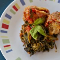 Italian Meatballs with Creamed Spinach