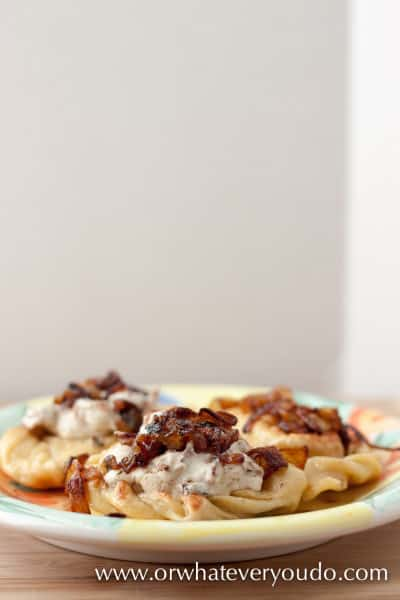 Caramelized Onion Cheddar Potato Pierogies from OrWhateverYouDo.com