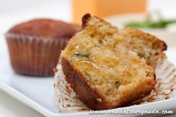 Jalapeno Cheddar Cornbread Muffins from OrWhateverYouDo.com