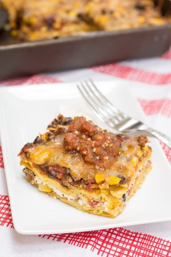 It is like Mexican lasagna! I LOVE THIS!
