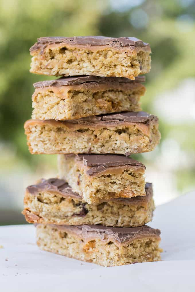 Oatmeal Cookie Bars with Caramel and Chocolate
