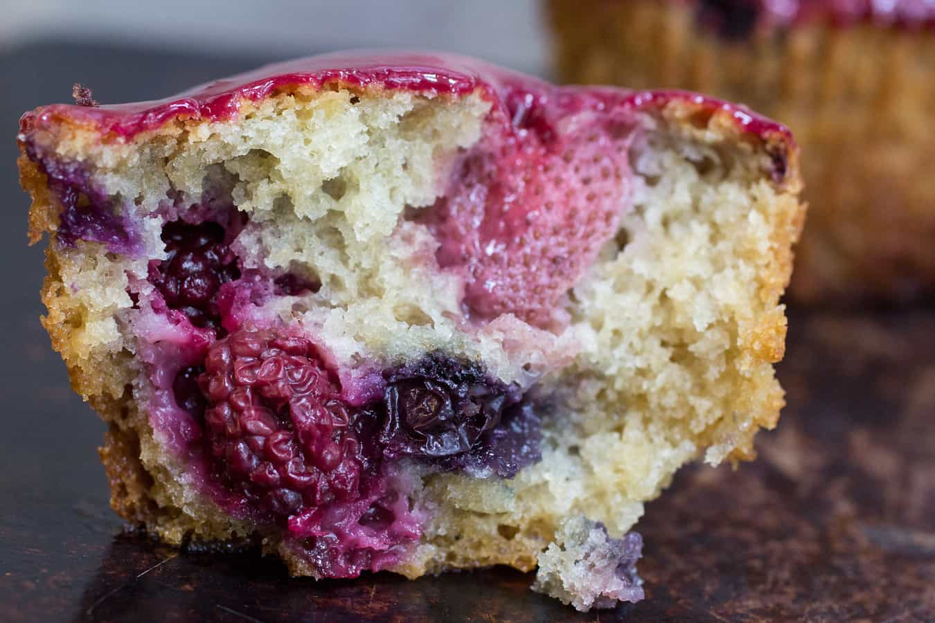 Triple Berry Glazed Muffins
