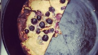 Barbecued Cast Iron Blueberry Pancake