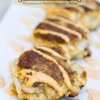 Crab Cakes with Roasted Red Pepper Aioli