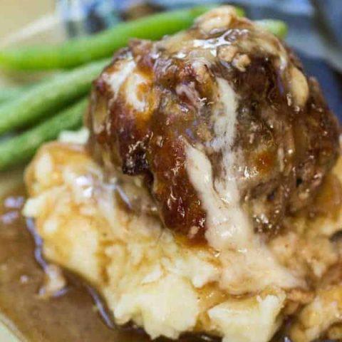 French Onion Stuffed Meatballs