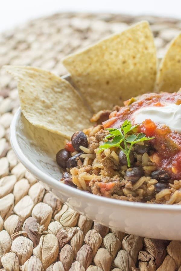 Beef and Bean Taco Rice Skillet-6