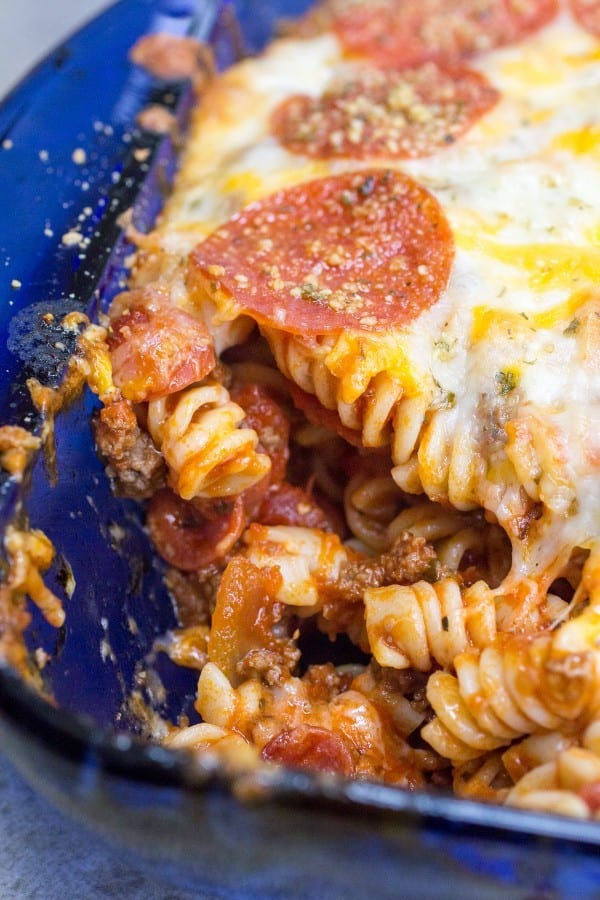 Easy and delicious pizza pasta bake. This Pepperoni Rotini Bake will have everyone asking for seconds!
