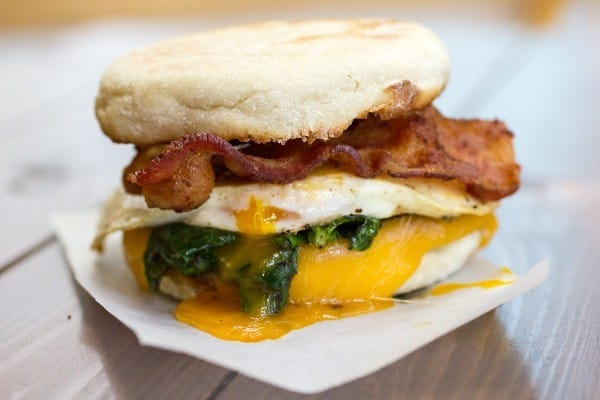 Spinach and Zaycon Bacon Breakfast Sandwich
