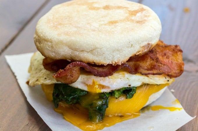 Spinach and Zaycon Bacon Breakfast Sandwich