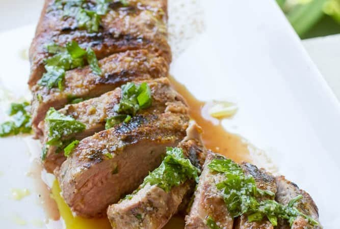 Grilled Pork Tenderloin with fresh herb sauce