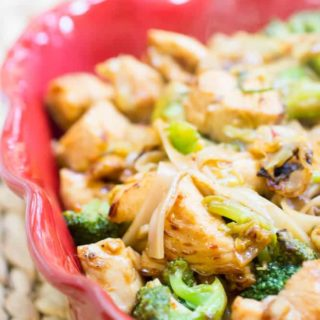Spicy Honey Sriracha Chicken and Rice Noodles-2