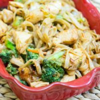 Spicy Honey Sriracha Chicken with Rice Noodles