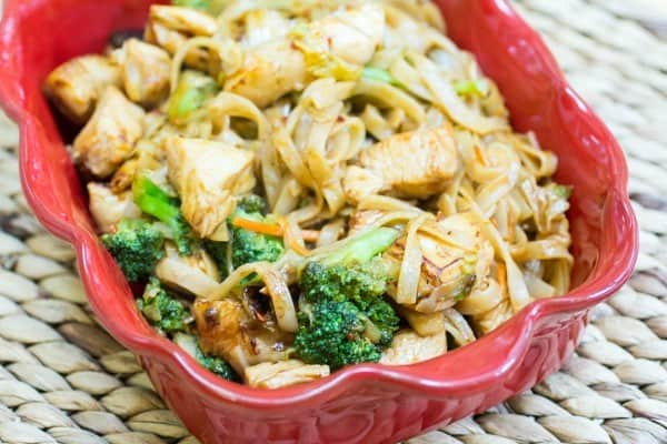 Honey Sriracha Chicken with Rice Noodles