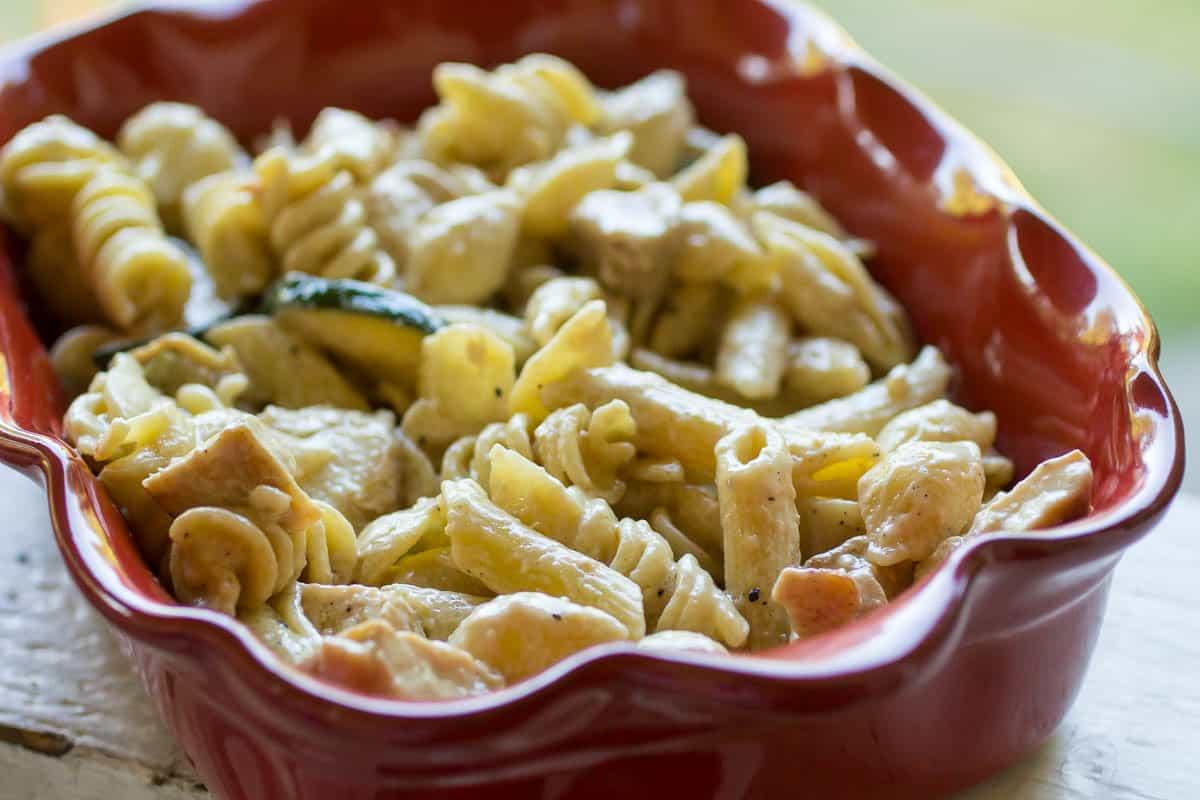 Chicken & Zucchini Pasta with Basil Cream Sauce