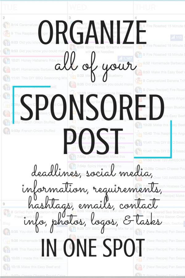 ORGANIZE your sponsored posts