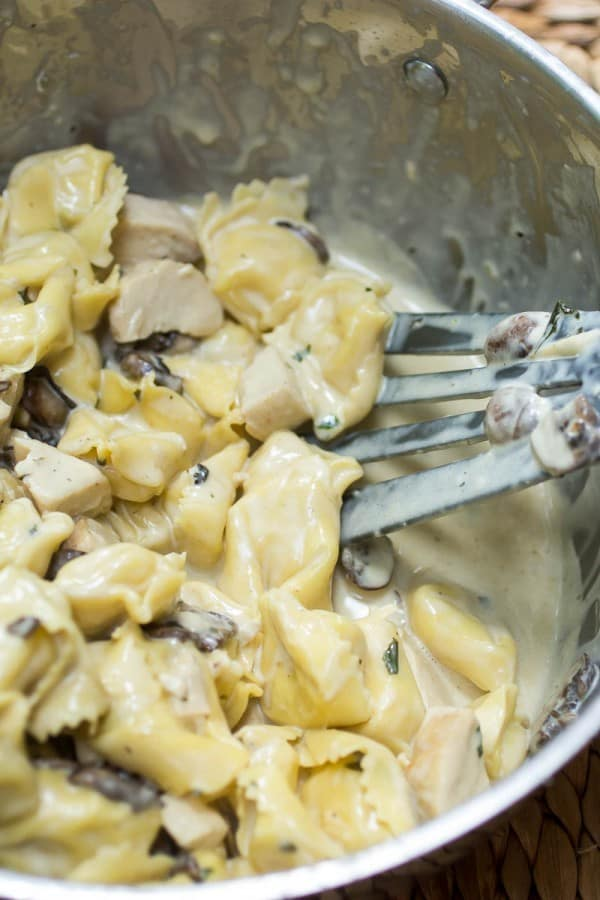Skillet Tortellini with Mushroom Cream Sauce-5