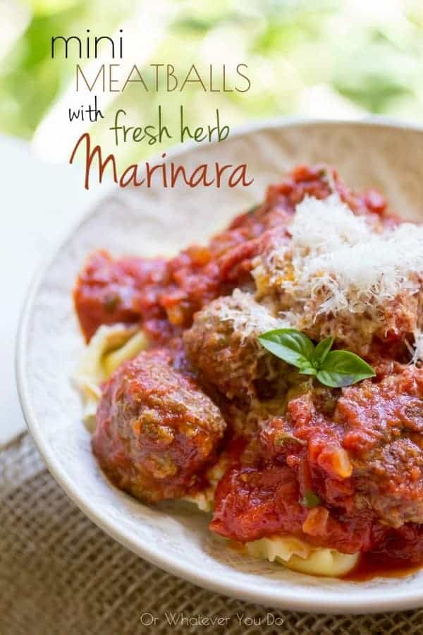 Tortellini and Mini Meatballs with Basil Maarinara