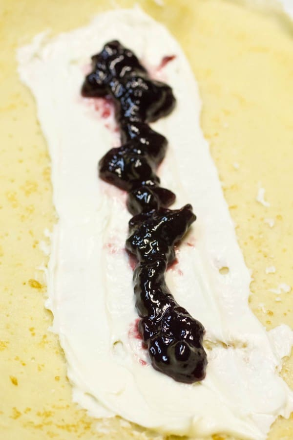 Crepes with Marionberry Cream Cheese Filling