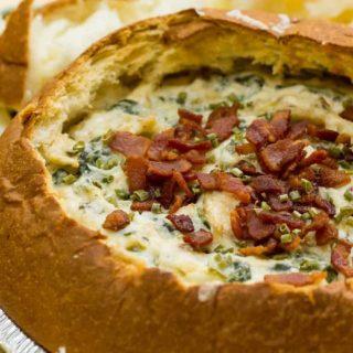 Make an amazing Bacon Spinach Artichoke Asiago Dip {Recipe}
