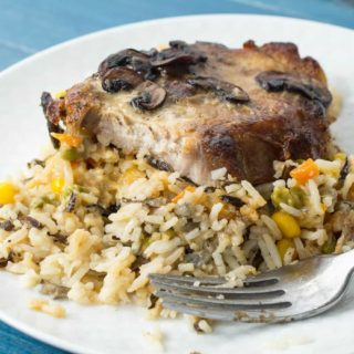 Mushroom Pork Chops with Vegetable Wild Rice Pilaf