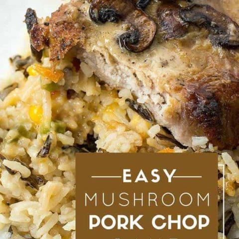 mushroom pork chops with vegetable wild rice pilaf