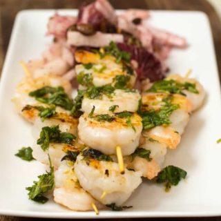 Grilled Shrimp and Blood Orange Jicama Salad with Salsa Verde