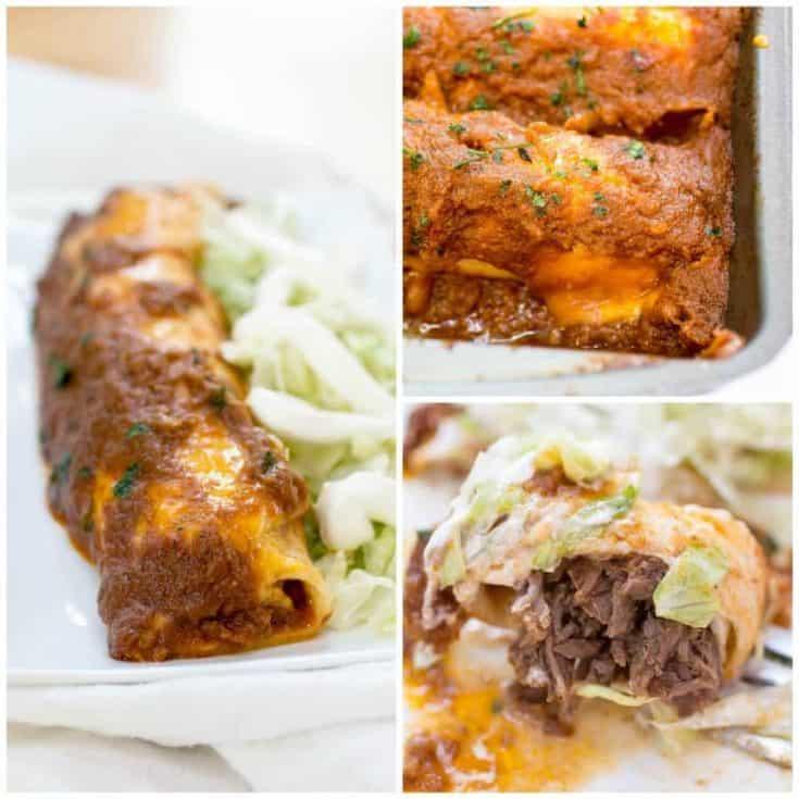 Smothered Shredded Beef Burritos