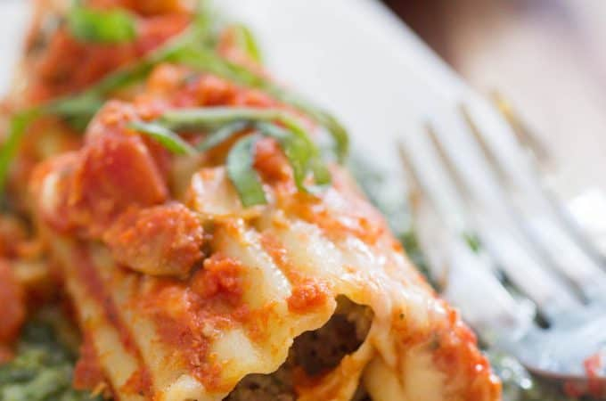 Meatball Stuffed Manicotti