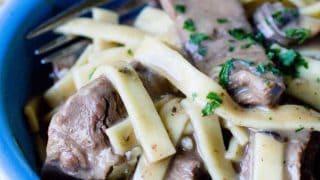 Skillet Garlic Beef Stroganoff
