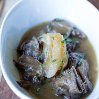 Pressure Cooker Beer Braised Steak with Onions