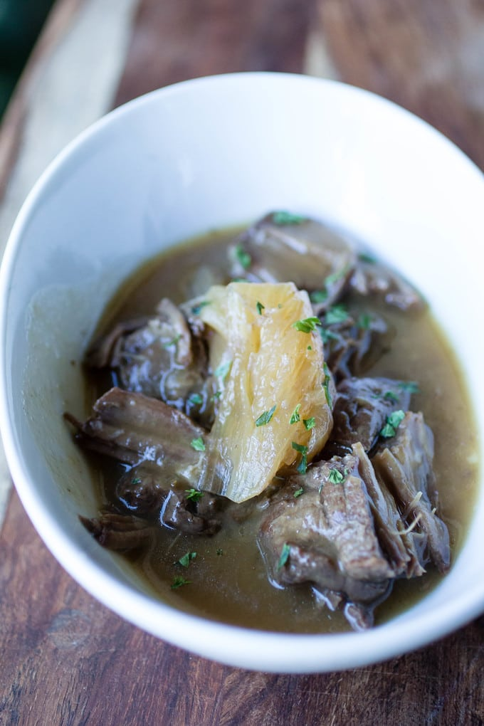 Pressure Cooker Beer Braised Steak with Onions