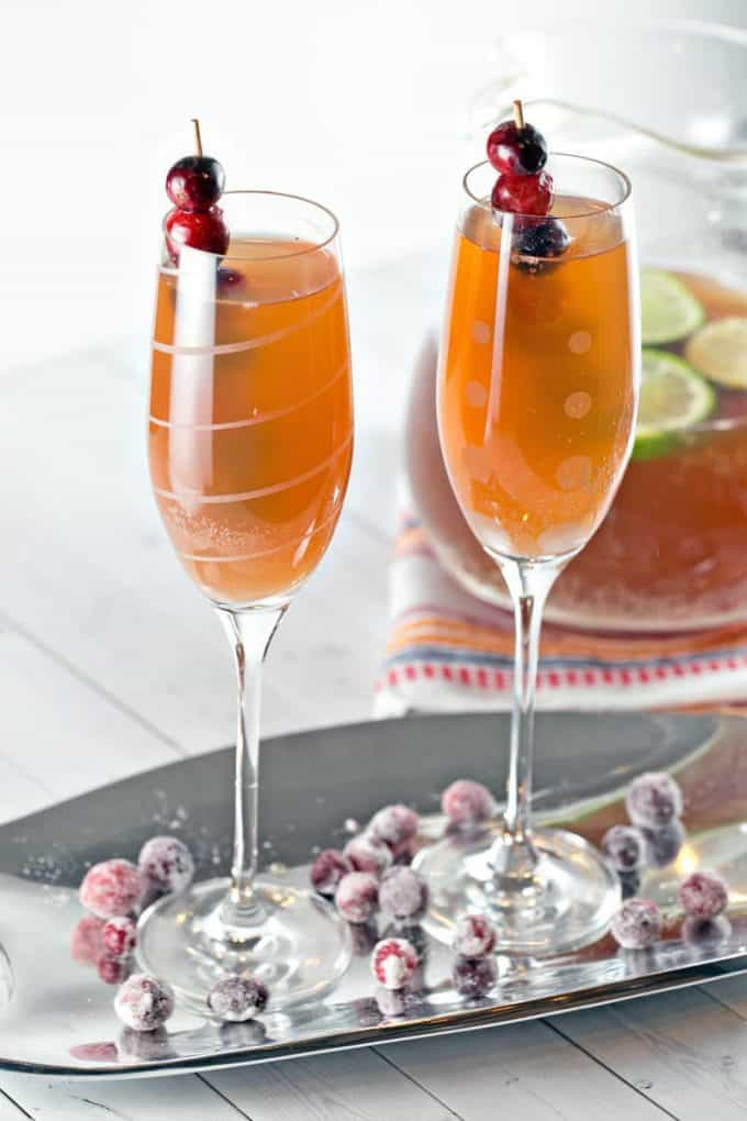 Cranberry Cider Champagne Punch with Bourbon