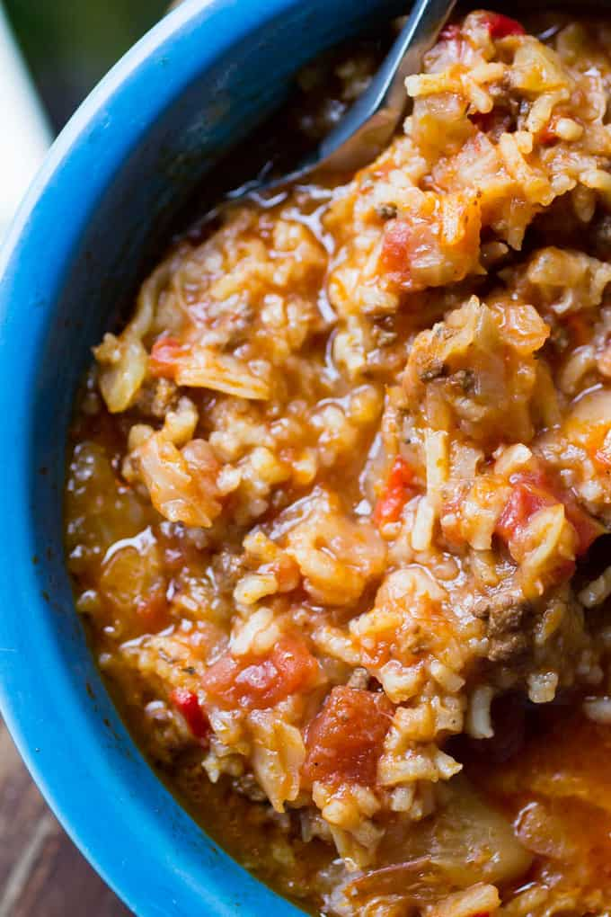 Instant Pot Beef and Cabbage Soup with Rice