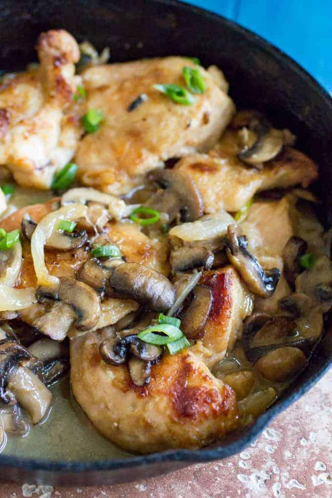 Traeger White Wine Chicken and Mushrooms