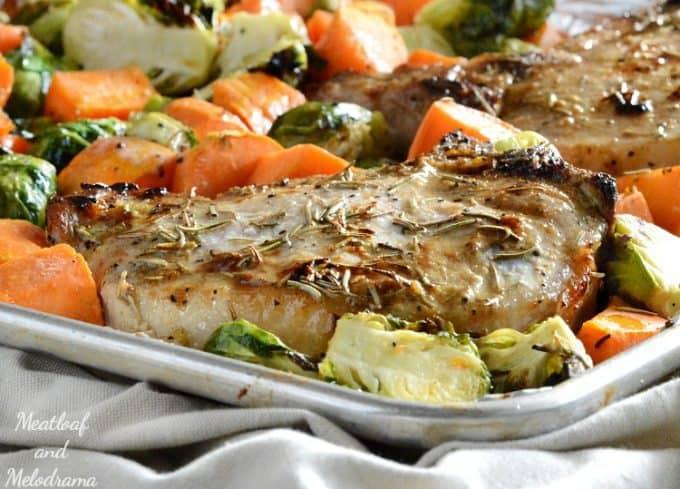 Meatloaf and Melodrama Sheet Pan Maple Dijon Pork Chops