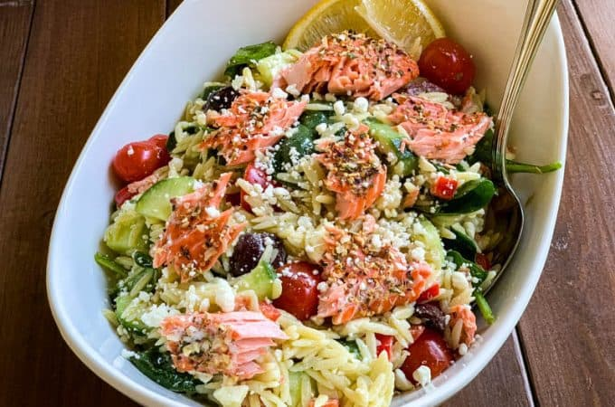 Salmon Orzo Greek Pasta Salad
