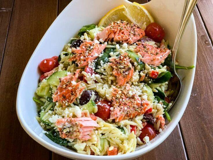 Easy Salmon Orzo Pasta Salad