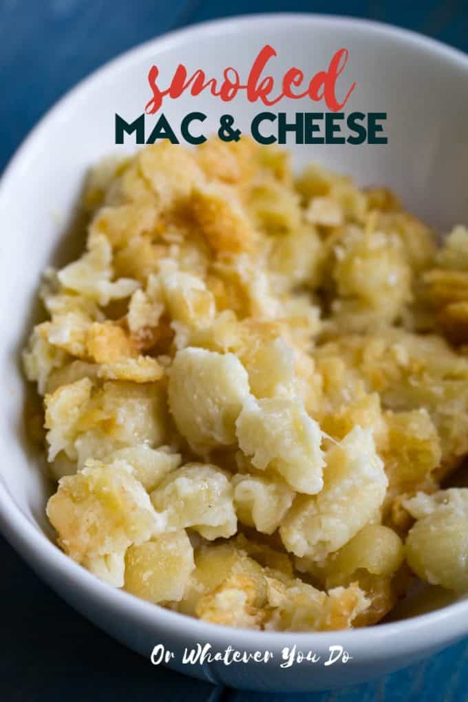 Smoked Macaroni and Cheese in a while bowl with cracker crumbs on top