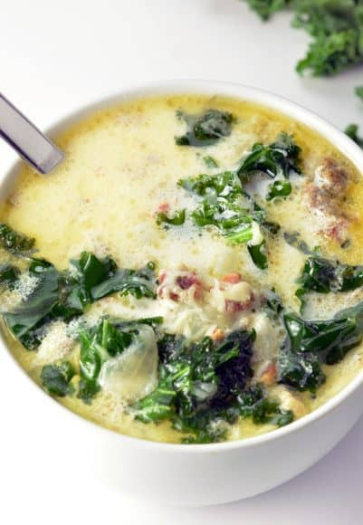 Zuppa Toscana Soup with a spoon in a bowl