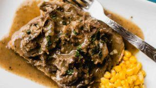 Instant Pot Shredded Steak and Gravy on Toast