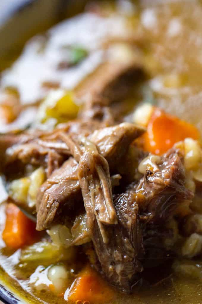 Beef Barley Soup with Prime Rib
