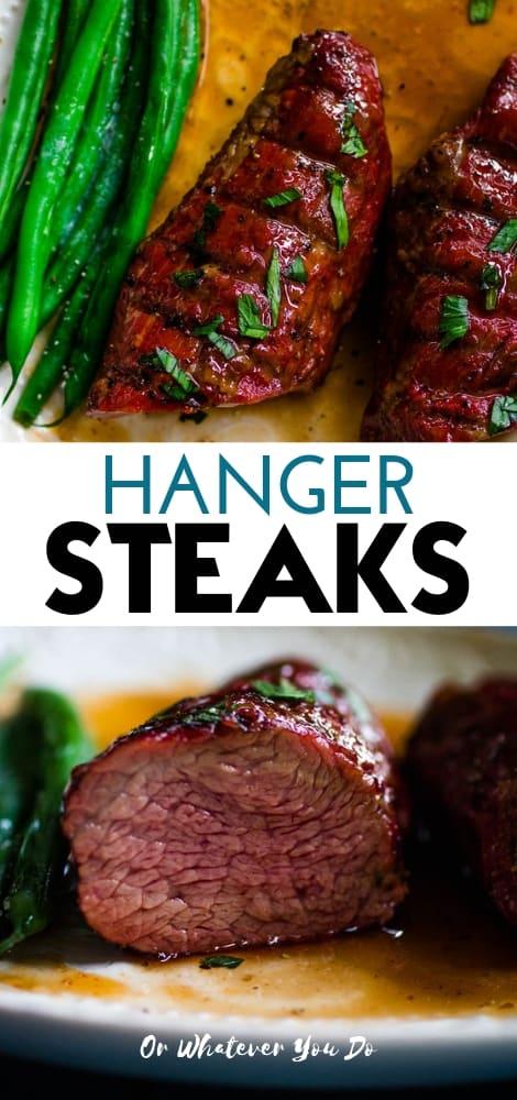 Reverse Seared Hanger Steaks