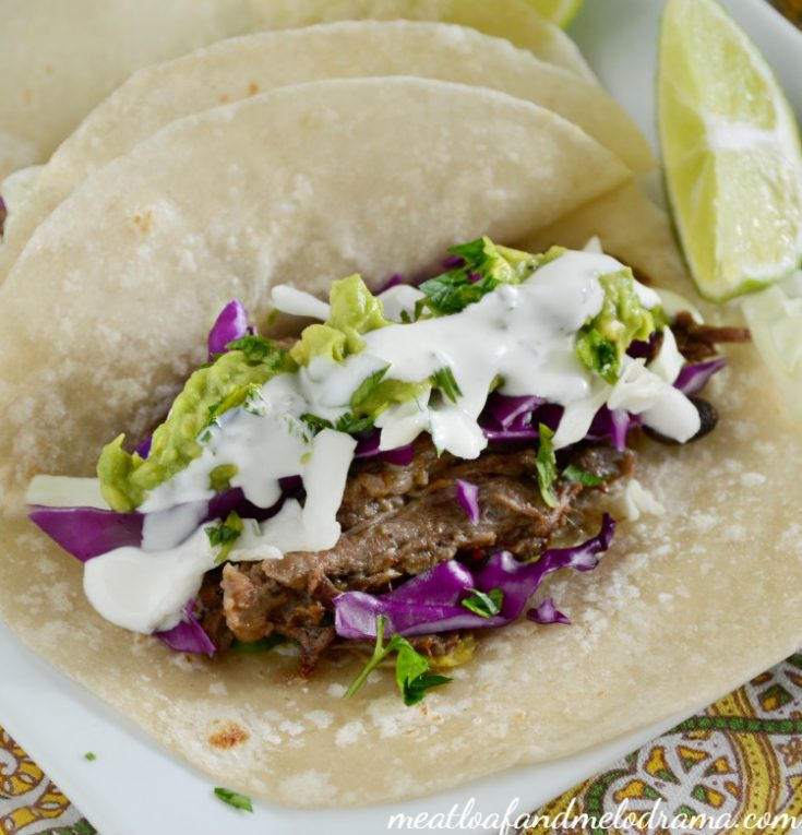 Crock-Pot Shredded Beef and Bean Tacos