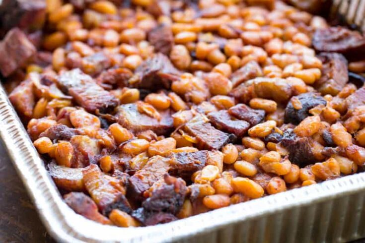 Traeger Baked Beans with Brisket