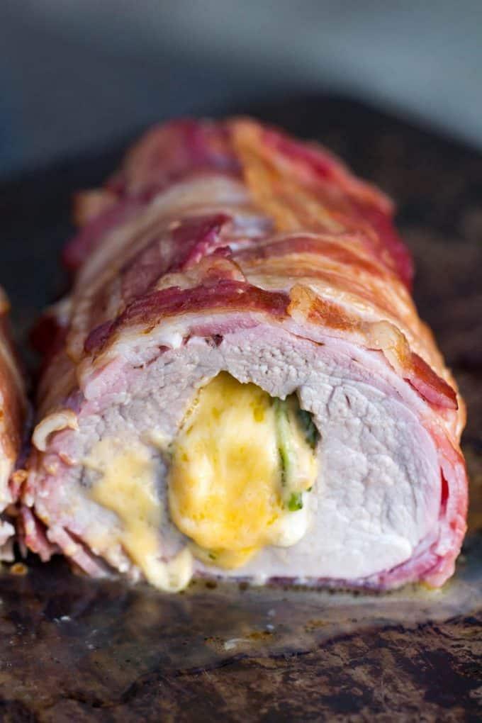 Bacon-Wrapped Stuffed Pork Tenderloin