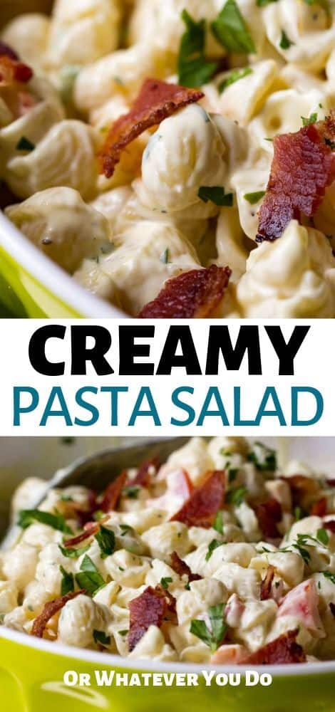 Easy, delicious creamy pasta salad recipe is delicious and will be the hit of your summer bbq's!