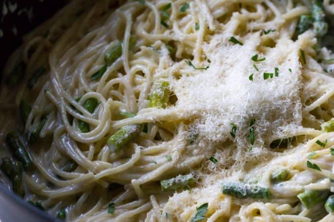 One Pot Parmesan Noodles with Asparagus