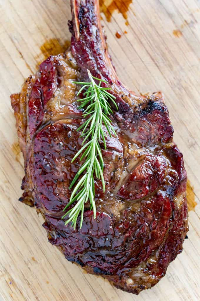 Tomahawk Steak Costco >> Traeger Tomahawk Ribeye | Smoked Cowboy Steak Reverse Seared