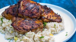 Pellet Grill Jerk Chicken Thighs